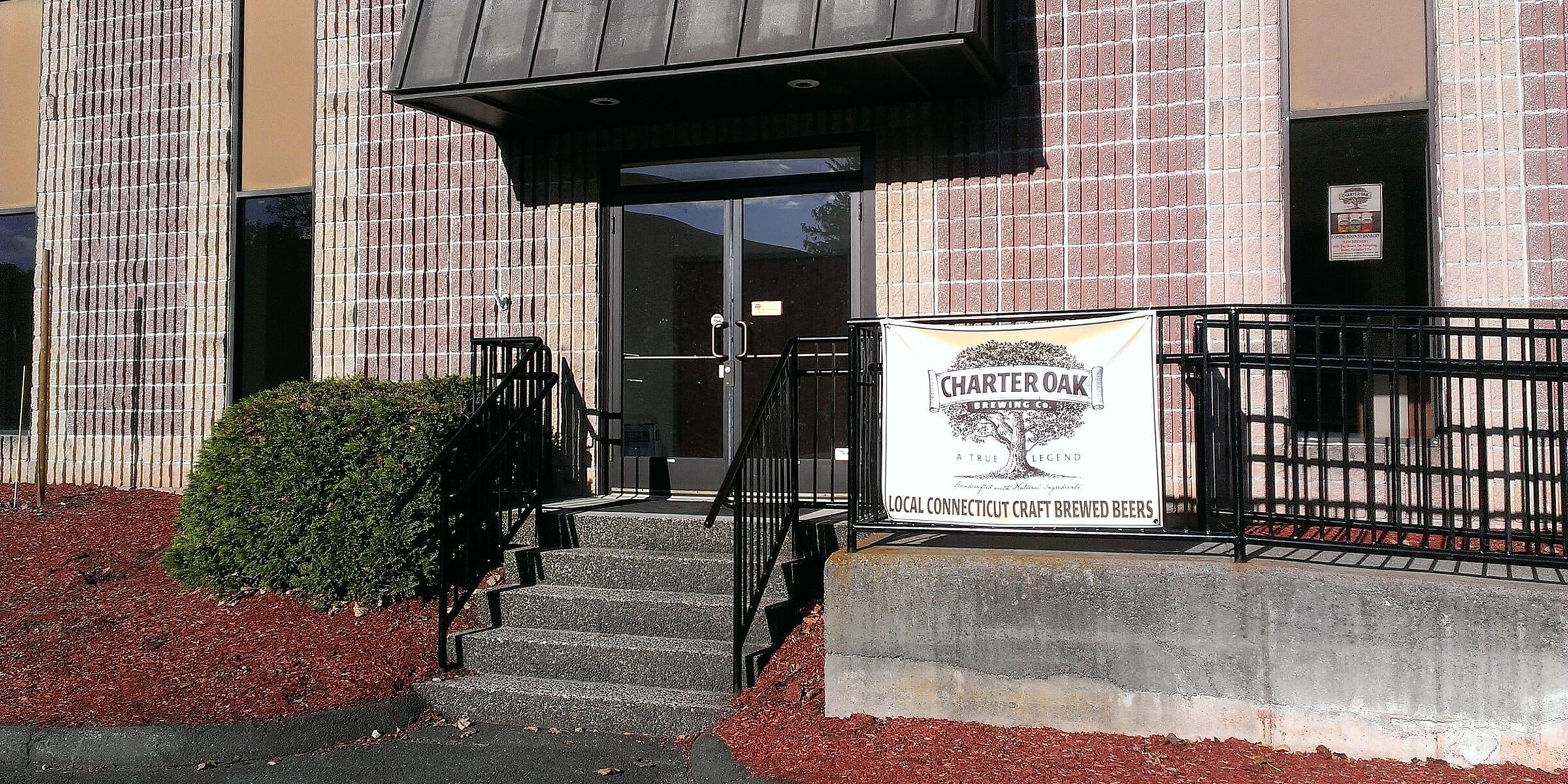 Outside the entrance ot Charter Oak Brewing Company in Danbury, Connecticut