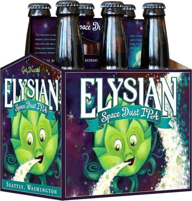 Packaging art for the Space Dust by Elysian Brewing Company