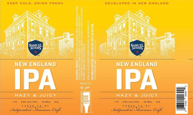 Label art for the Samuel Adams New England IPA by Boston Beer Company