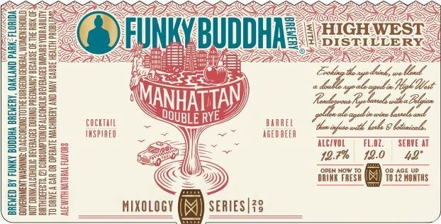 Label art for the Manhattan Double Rye Ale by Funky Buddha Brewery
