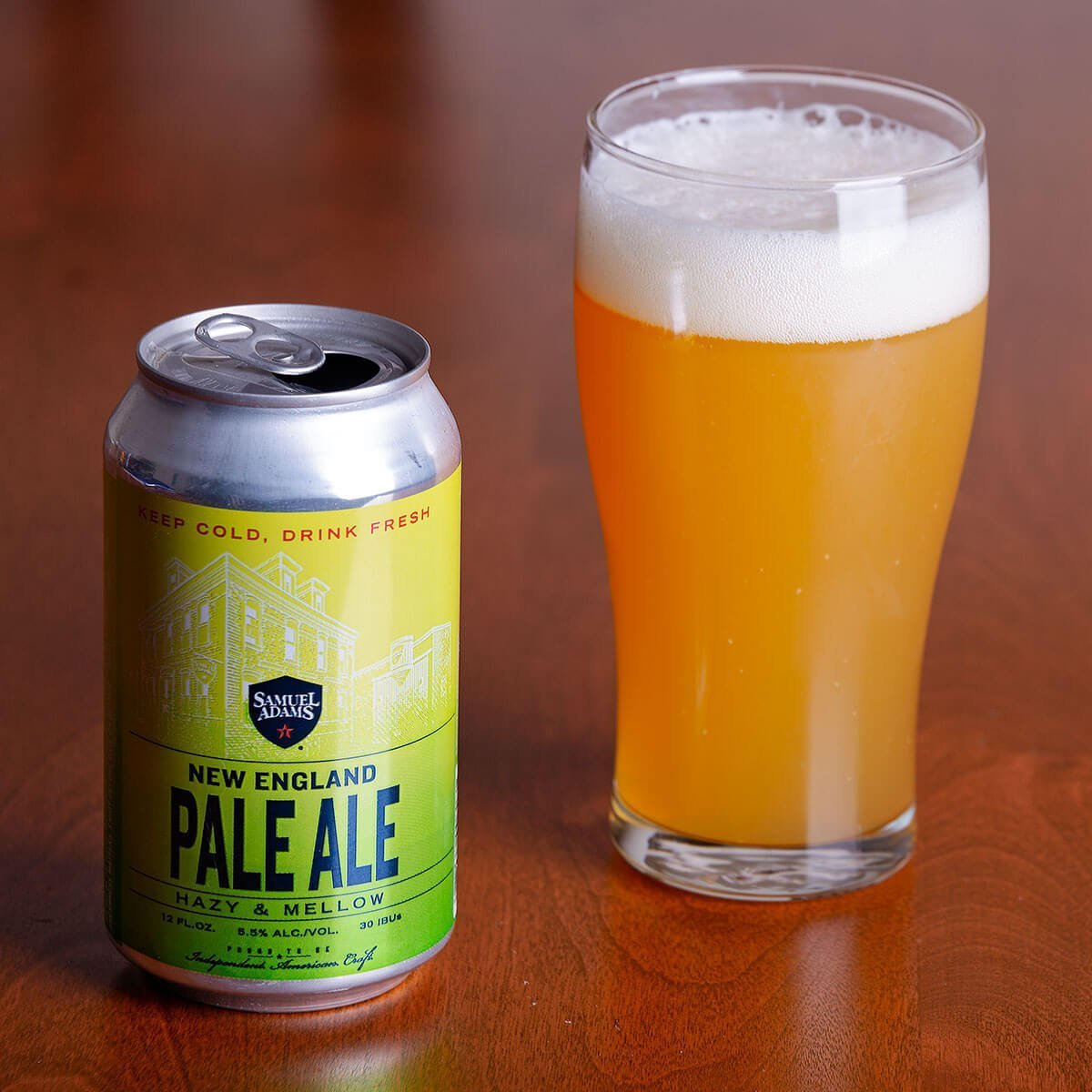 The Samuel Adams New England Pale Ale is an American Pale Ale brewed in the New England style from the Boston Beer Company.