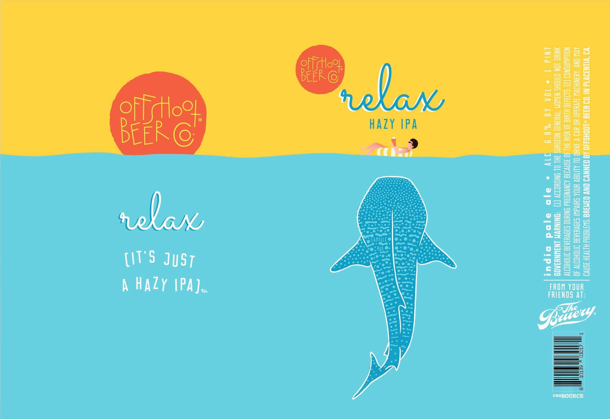Label art for the Relax [it's just a hazy IPA] by Offshoot Beer Co.