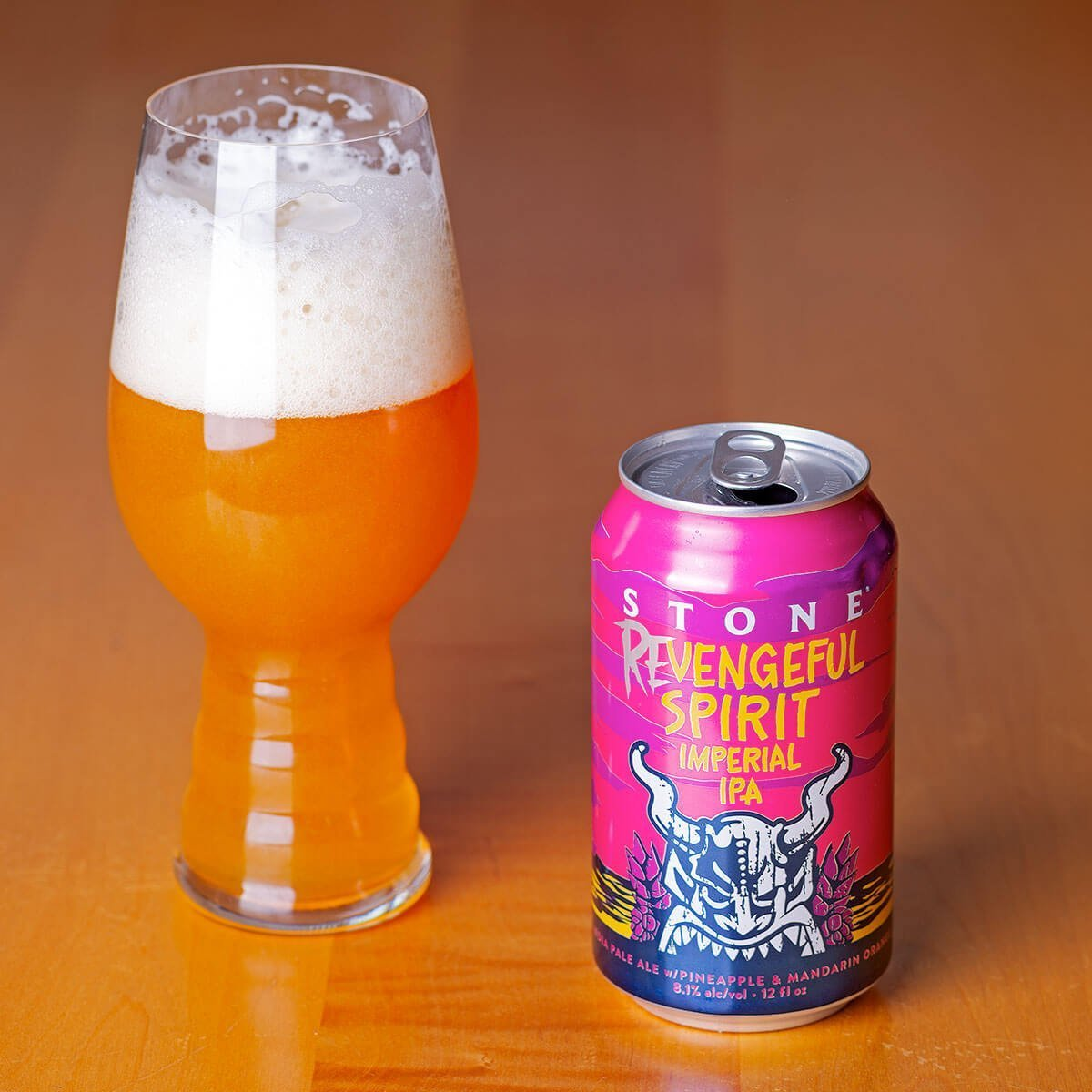 The Revengeful Spirit Imperial IPA is an American Double IPA by Stone Brewing that blends tropical fruit with extra hops and booze.