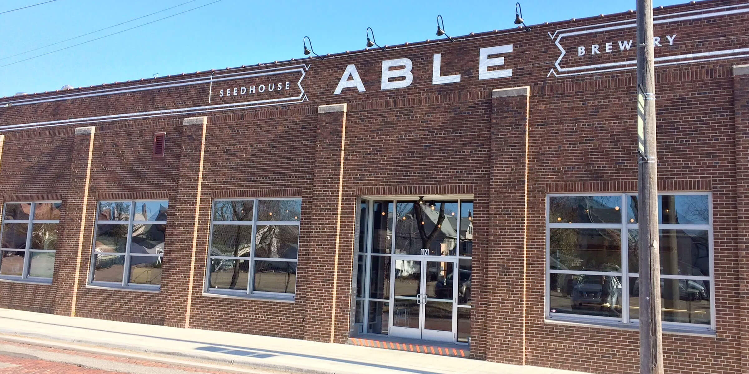 Outside the entrance to the Able Seedhouse + Brewery taproom in Minneapolis, Minnesota