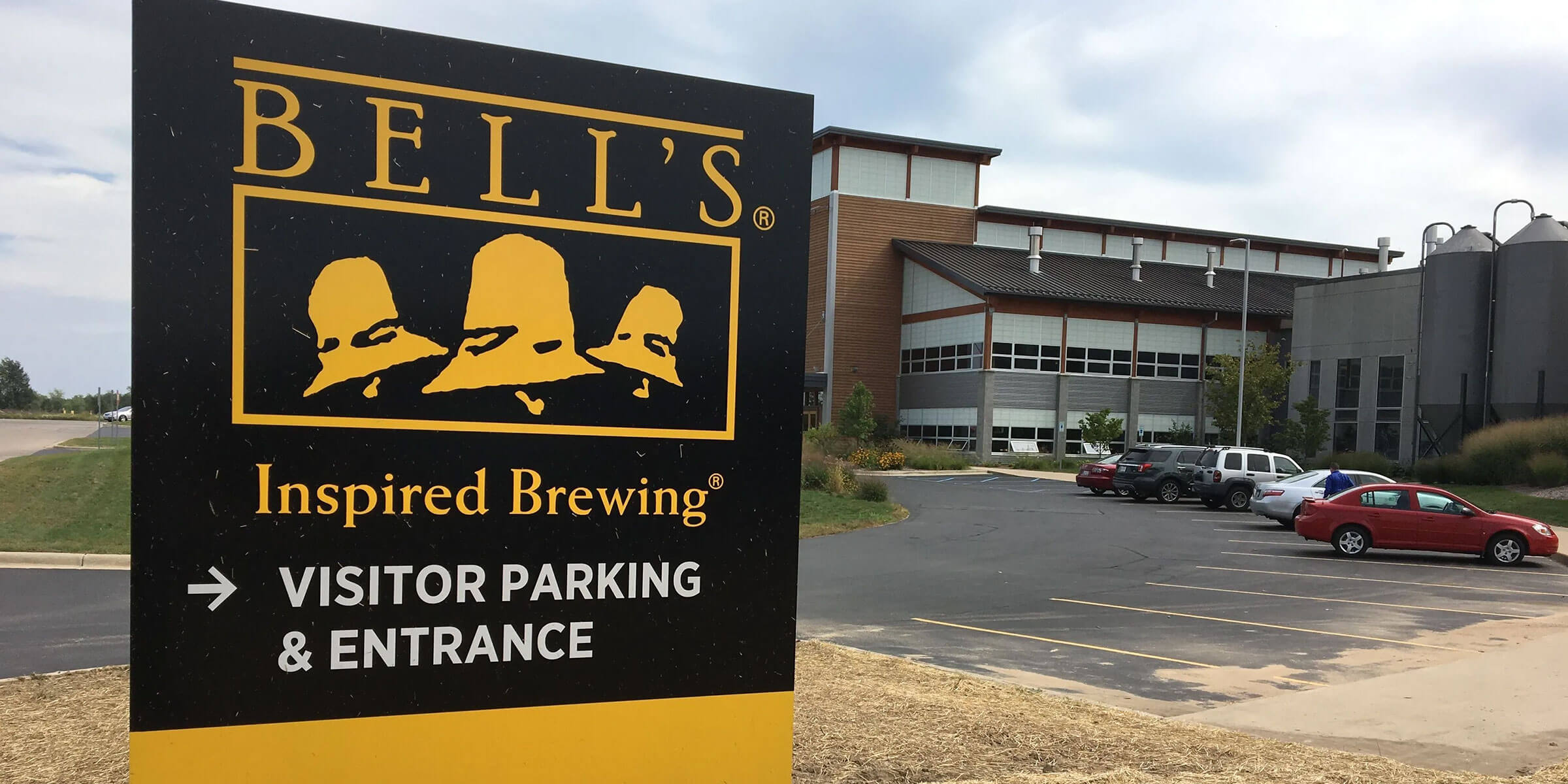 Signage posted outside the entrance to the Bell's Brewery, Inc. production brewery in Comstock, Michigan