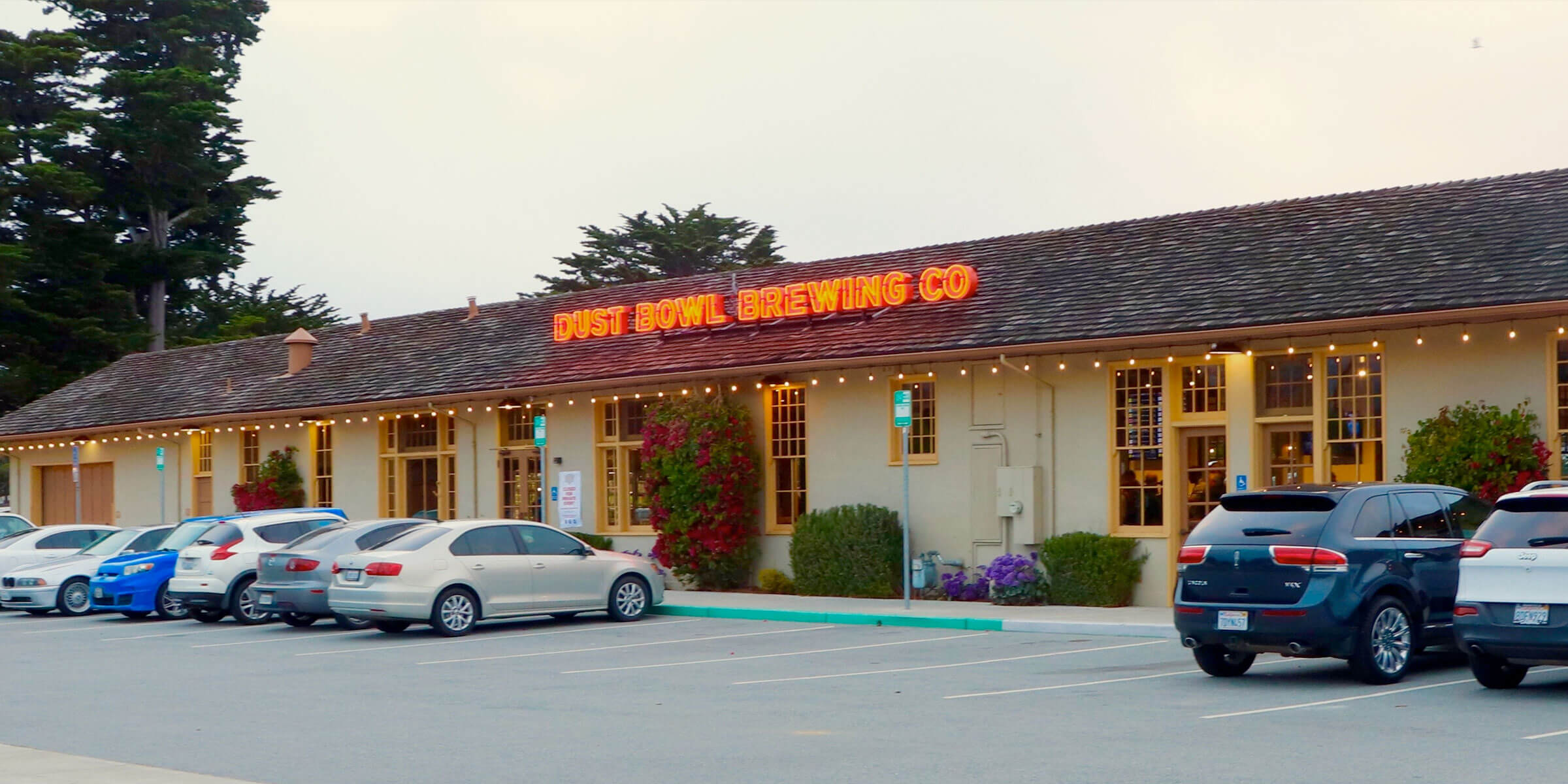 Outside the entrance to the Dust Bowl Brewing Co. taproom in Monterey, California