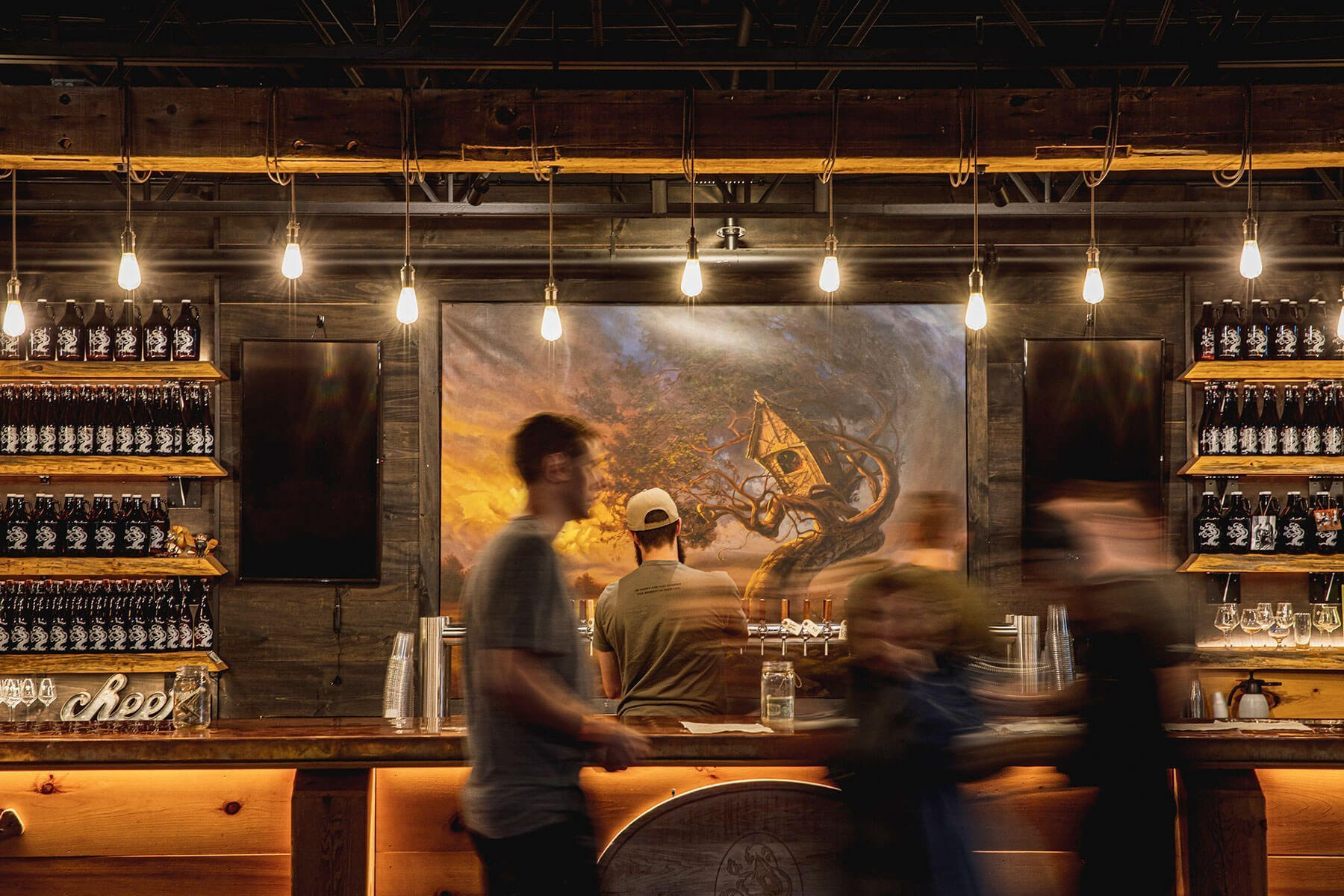 Inside the taproom at Tree House Brewing Company in Charlton, Massachusetts