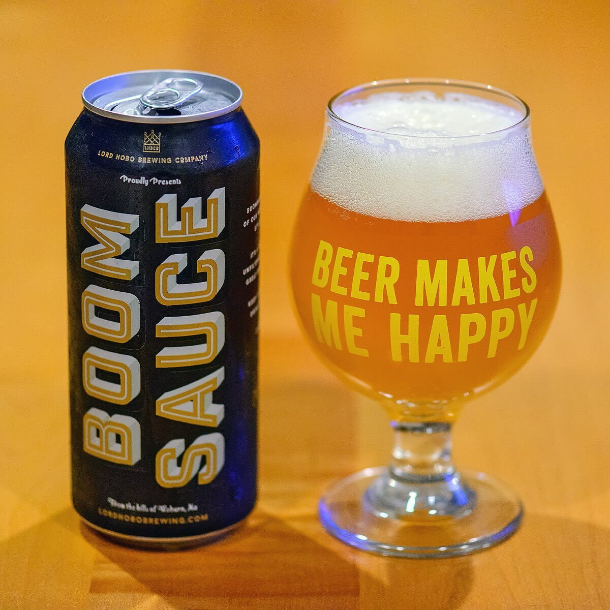 Boomsauce is an American Double IPA in the New England style by Lord Hobo Brewing Co. that brings big hoppy flavors of juice and pine.