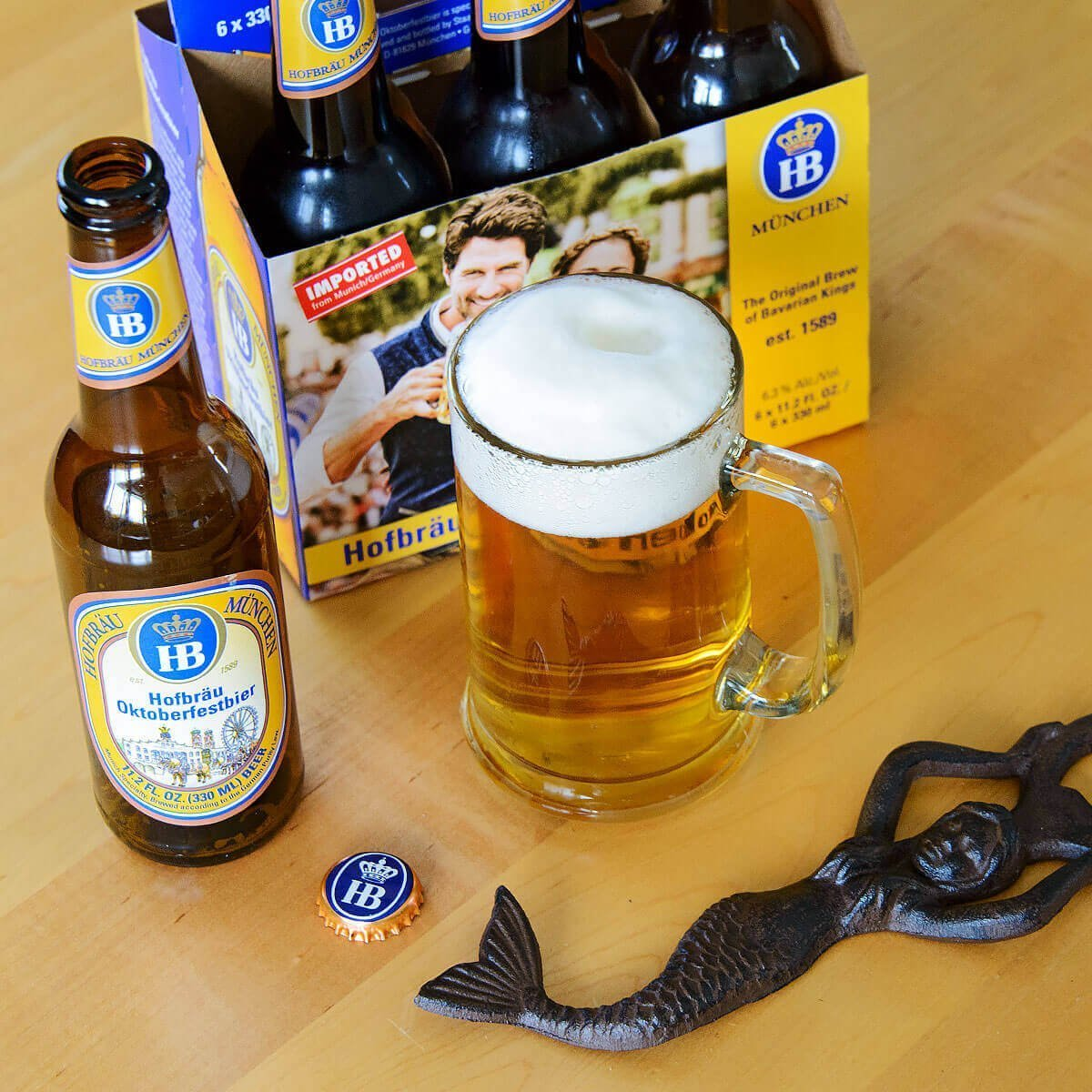 Hofbräu Oktoberfestbier, a German Märzen by Hofbräu München is light, approachable, and easily quaffed—the classic Festbier!
