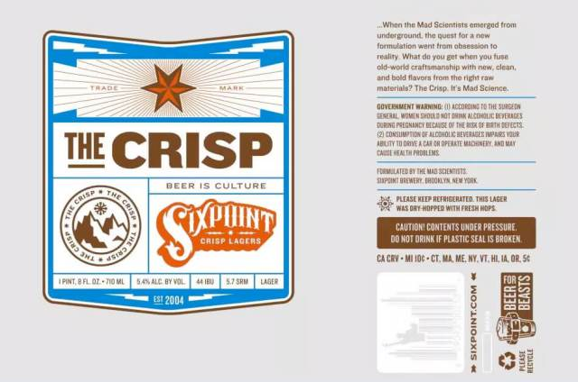 Label art for the The Crisp by Sixpoint Brewery