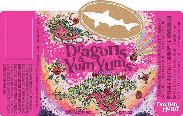Label art for the Dragons & YumYums by Dogfish Head Craft Brewery