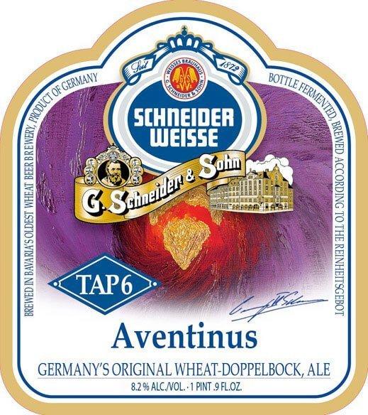Label art for the Schneider Weisse Tap 6 Unser Aventinus by G. Schneider & Sohn GmbH
