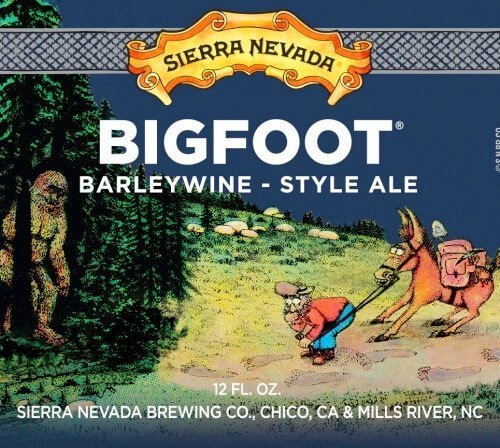 Label art for the Bigfoot Barleywine Style Ale by Sierra Nevada Brewing Co.