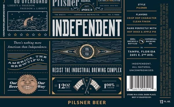 Label art for the Independent Pilsner by Coppertail Brewing Co.
