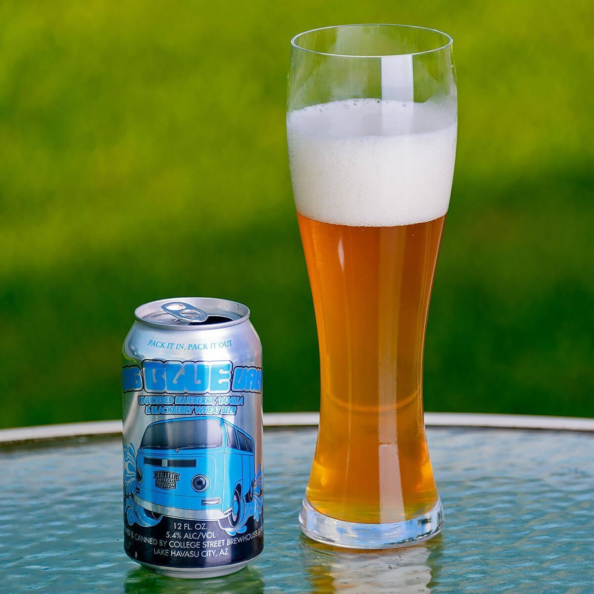 Big Blue Van is an American Wheat Ale brewed by College Street Brewhouse & Pub that blends mildly tart blueberries and wheat bread with sweet vanilla.