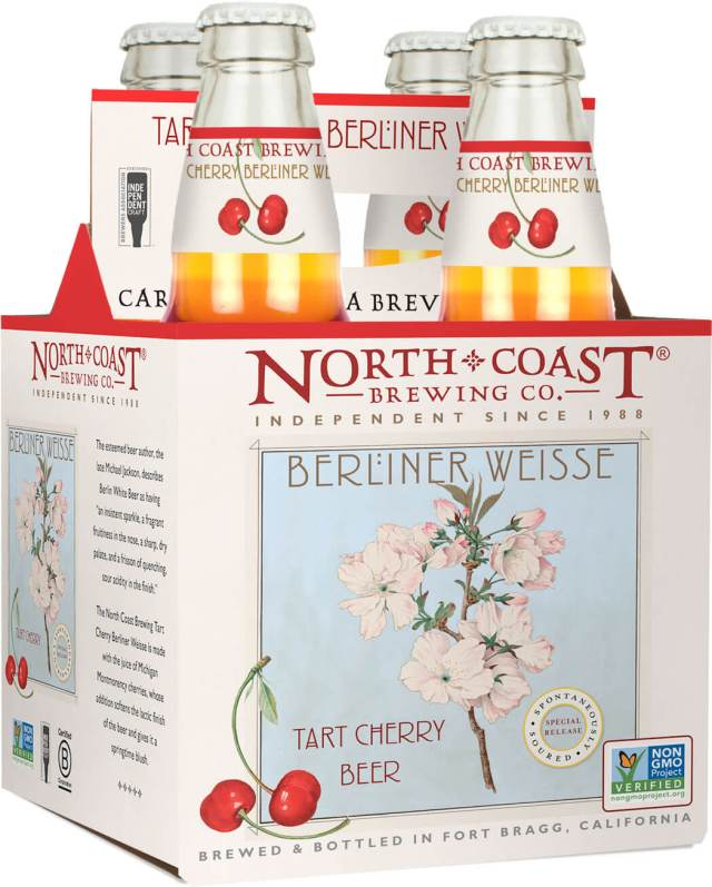 Packaging art for the Tart Cherry Berliner Weisse by North Coast Brewing Co.