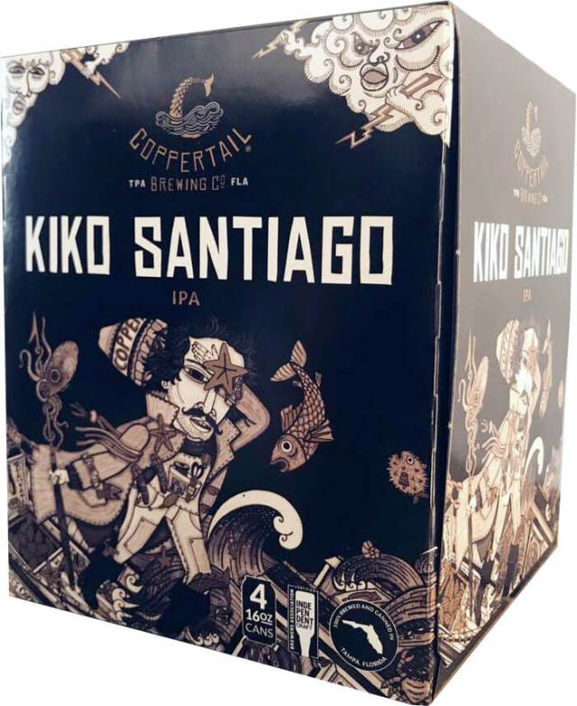 Packaging art for the Kiko Santiago by Coppertail Brewing Co.