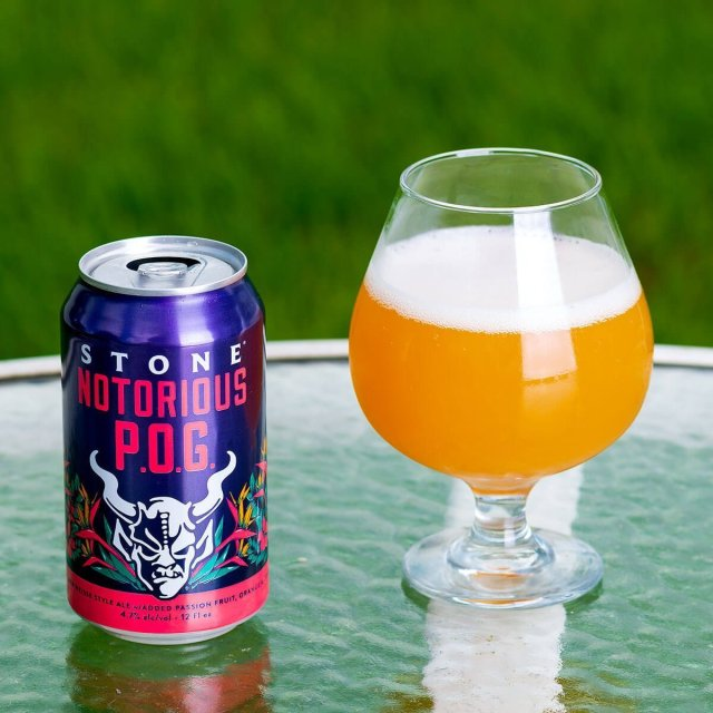 Stone Notorious P.O.G. is a German-style Berliner Weisse by Stone Brewing that pairs tart orange with juicy sweet passion fruit and guava.