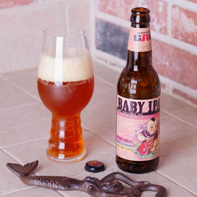 Baby IPA is an English-style IPA by the Master Gao Brewing Company that blends floral and peppery hops with toasted bread and caramel.