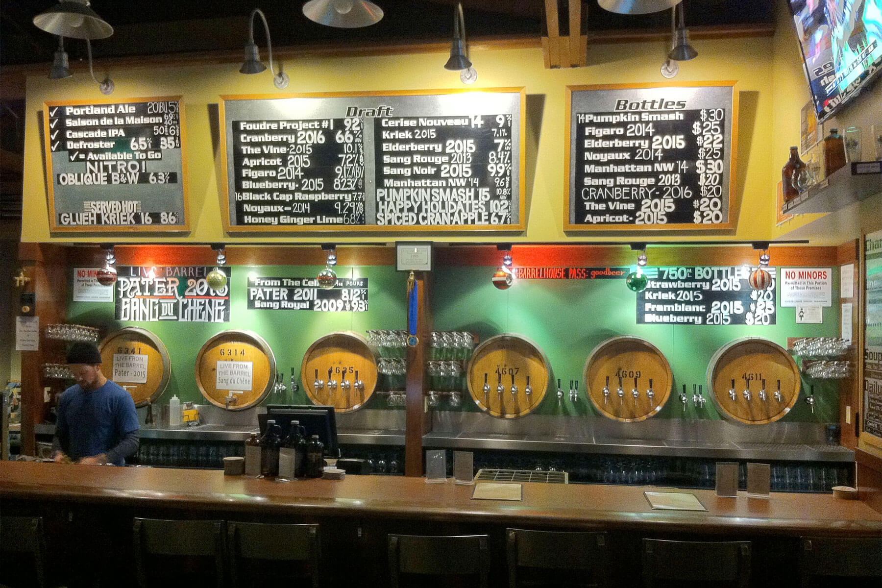 Inside the Cascade Brewing Barrel House Tap Room in Portland, Oregon