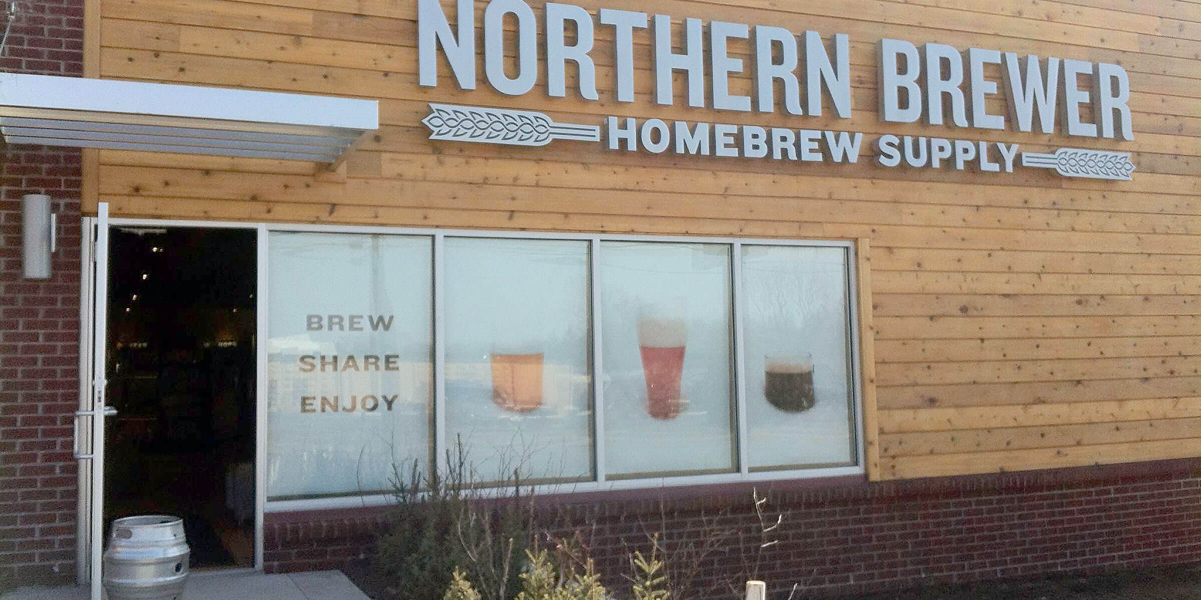 Outside the Entrance to a Northern Brewer Homebrew Supply Retail Store