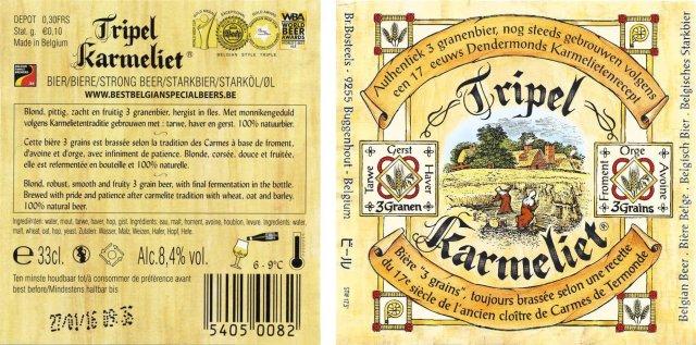 Label art for the Tripel Karmeliet by Brouwerij Bosteels