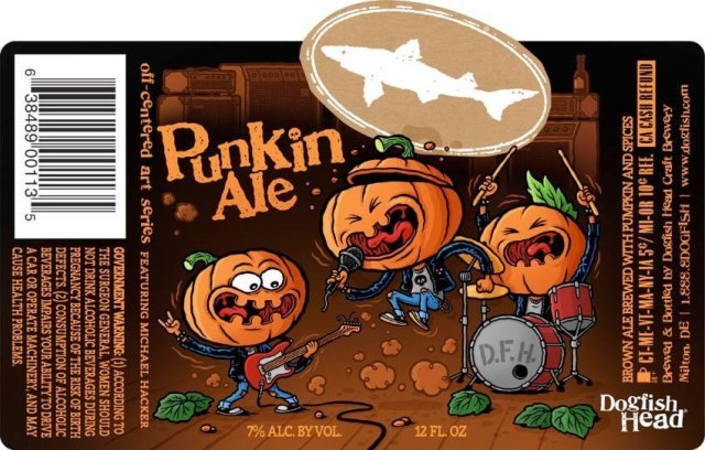 Label art for the Punkin Ale by Dogfish Head Craft Brewery