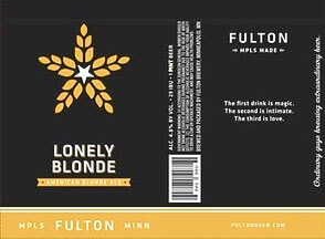 Label art for the Lonely Blonde by Fulton Beer