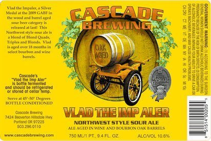 """Label Design for the 750 ml Bottle of """"Vlad the Imp Aler"""" by Cascade Brewing"""