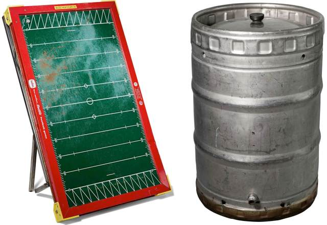 Part of the Smithsonian collection, the vintage electric football game and boil kettle used by Dogfish Head co-founder Sam Calagione in the brewery's early days.