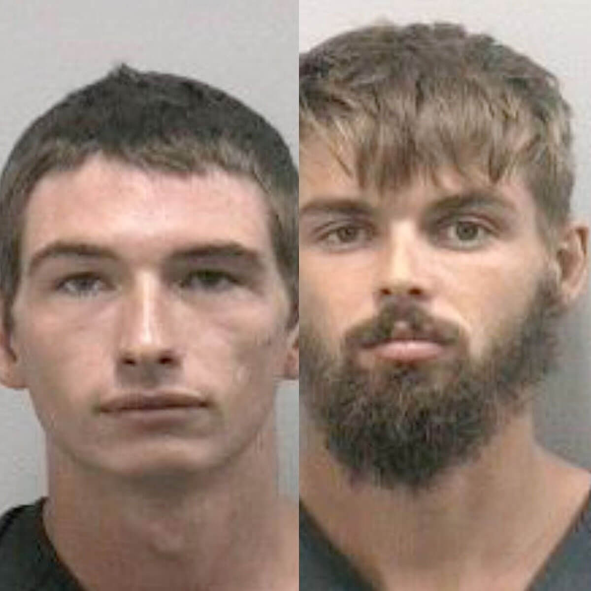 Noah Osborne (left) and Timothy Kepke (right) were arrested for capturing an alligator and pouring beer into its mouth.