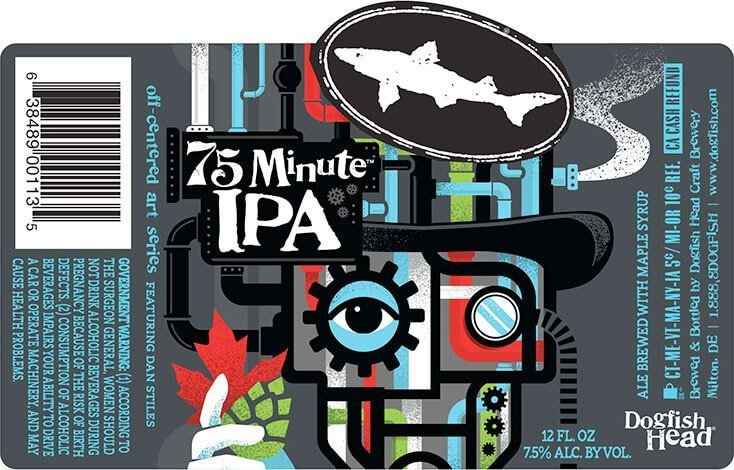 Label art for the 75 Minute IPA by Dogfish Head Craft Brewery
