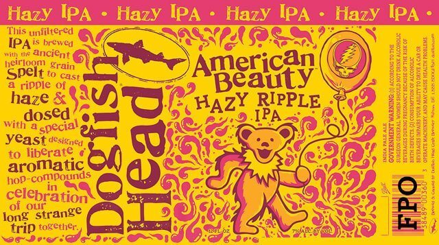Label design for 12 oz. cans of the American Beauty Hazy Ripple IPA by Dogfish Head Craft Brewery
