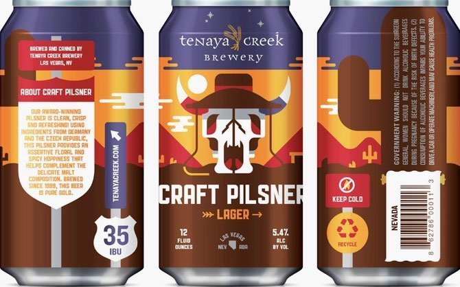 Packaging art for the Tenaya Creek Pilsner by Tenaya Creek Brewery
