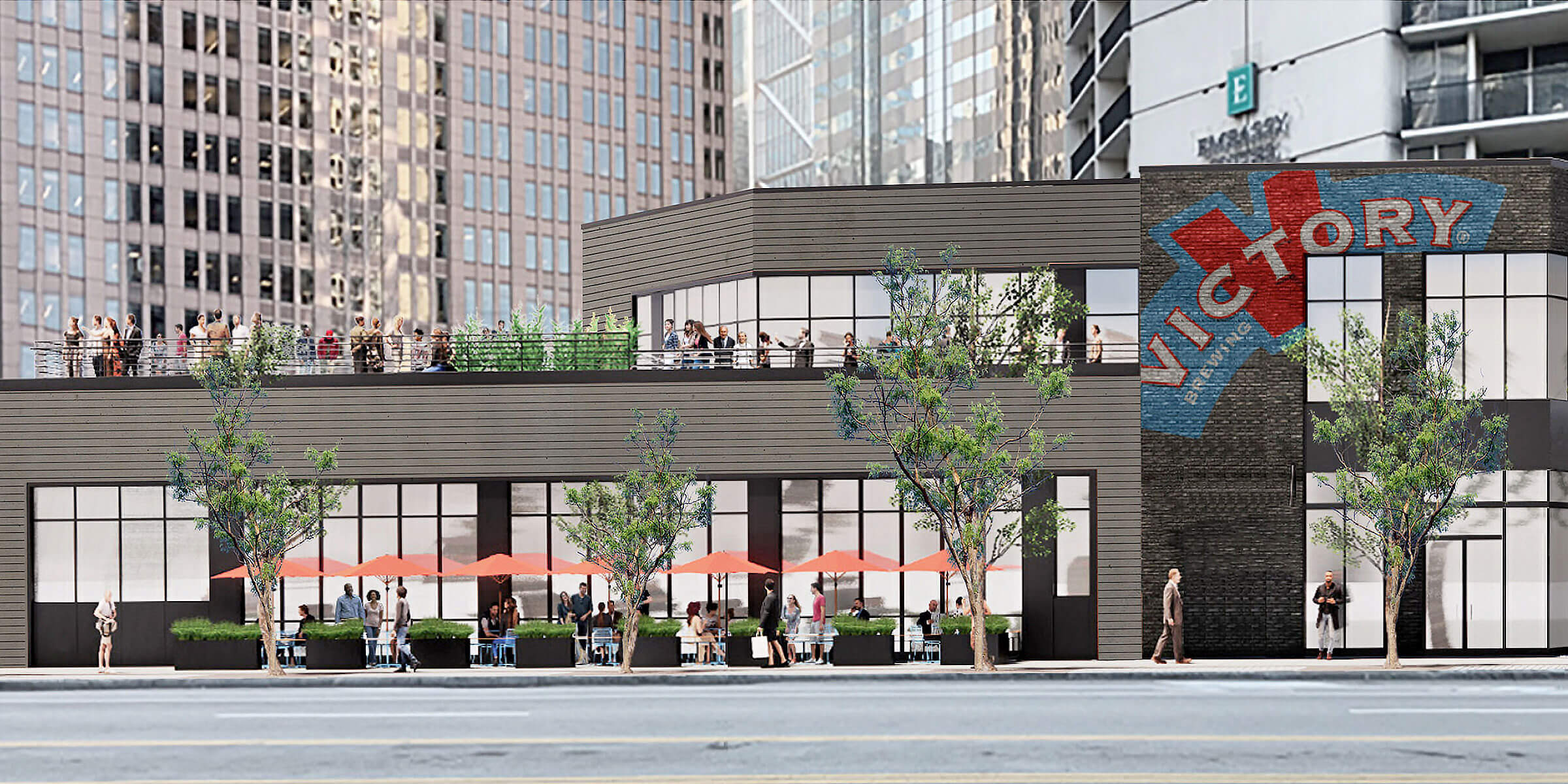 An architect's rendering of main façade of the new Victory taproom at 1776 Benjamin Franklin Parkway, Philadelphia, Pennsylvania.