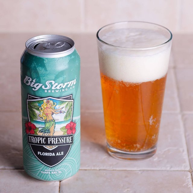 Tropic Pressure is an American Blonde Ale by Big Storm Brewing Co. that blends lightly baked bread, floral hops, hibiscus, and honey.