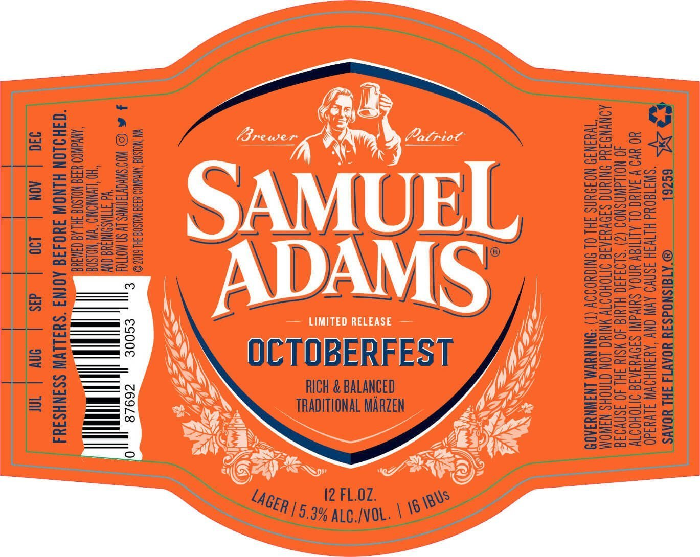 Label art for the Samuel Adams OctoberFest by Boston Beer Company