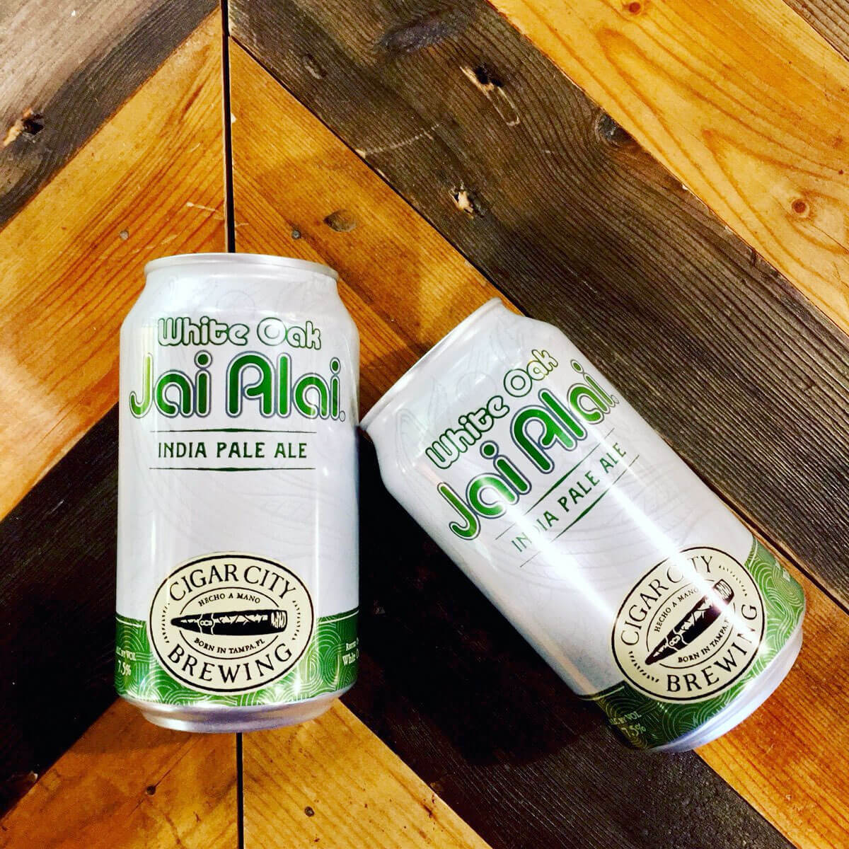 12 oz. cans of the White Oak Jai Alai by Cigar City Brewing