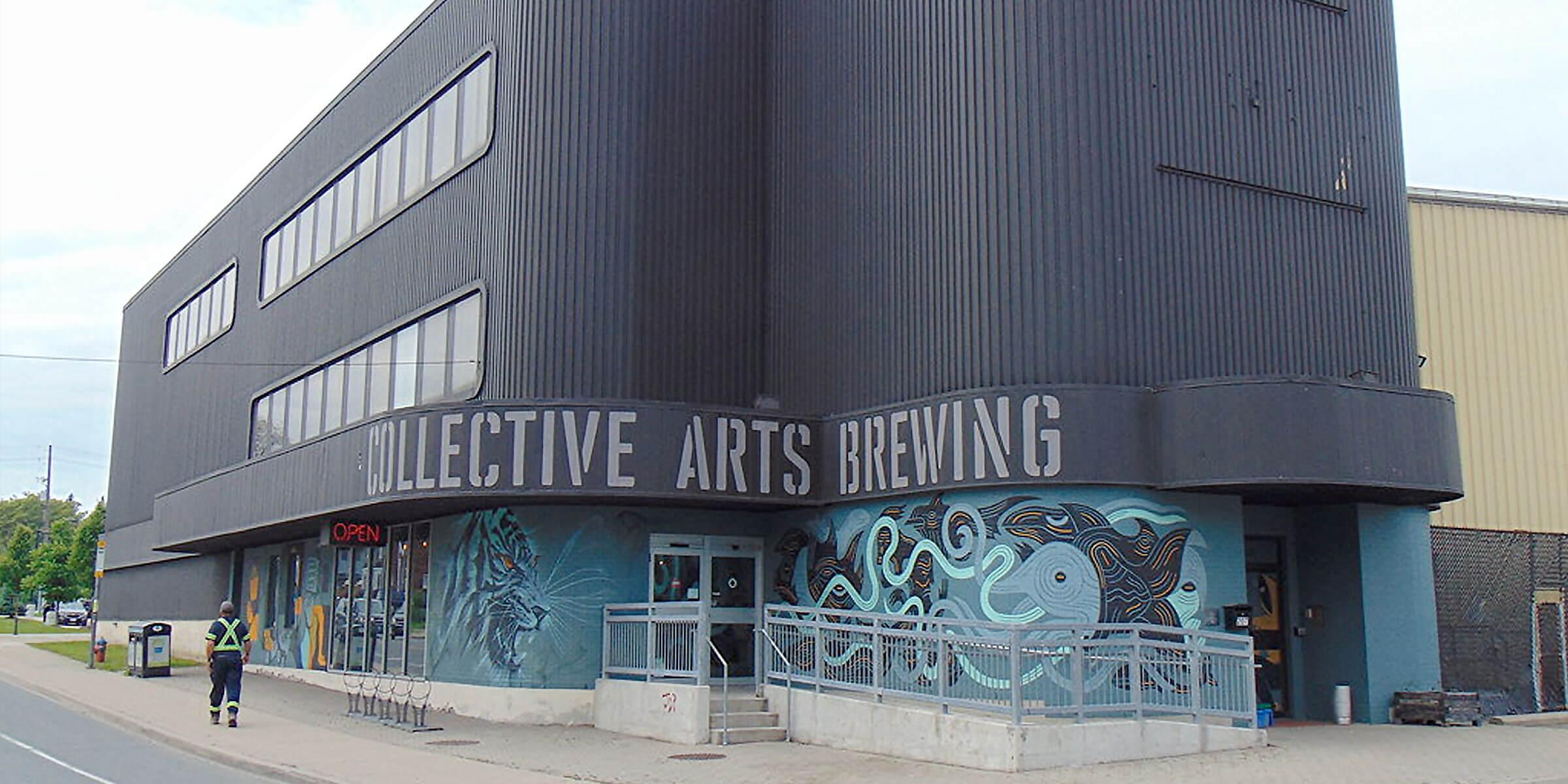 Outside the Collective Arts Brewing building in Hamilton, Ontario