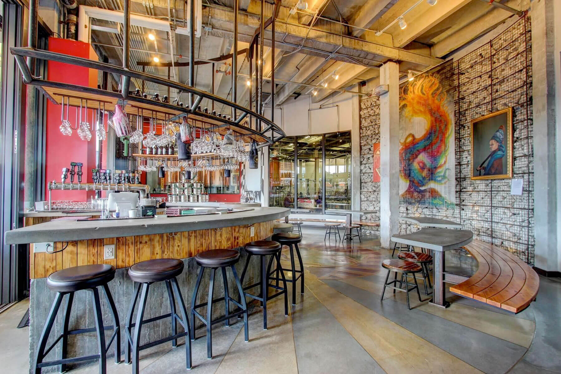 Inside the Concrete Beach Brewery taproom in Miami, Florida