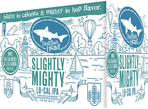 Packaging art for the Slightly Mighty by Dogfish Head Craft Brewery