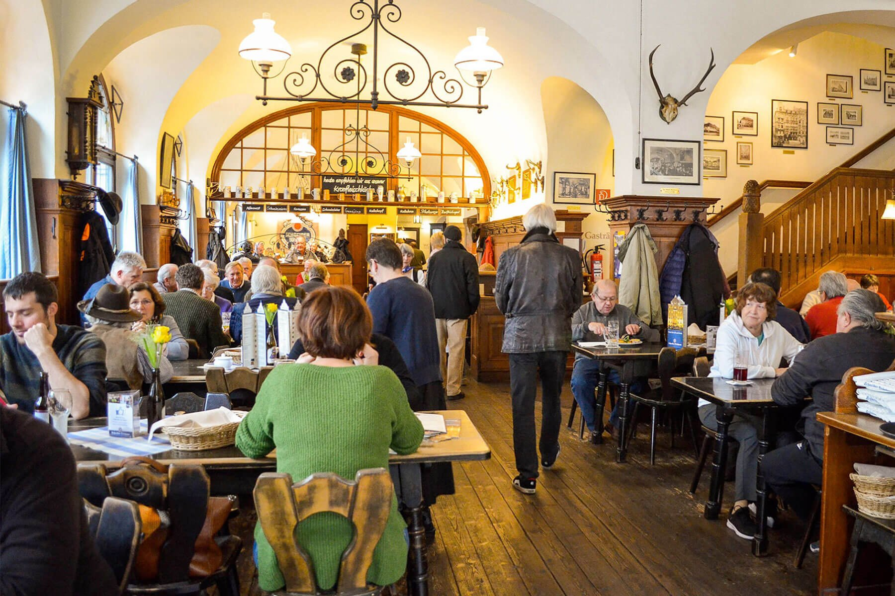 Inside one of the many rooms at the Schneider Bräuhaus in Munich, Germany