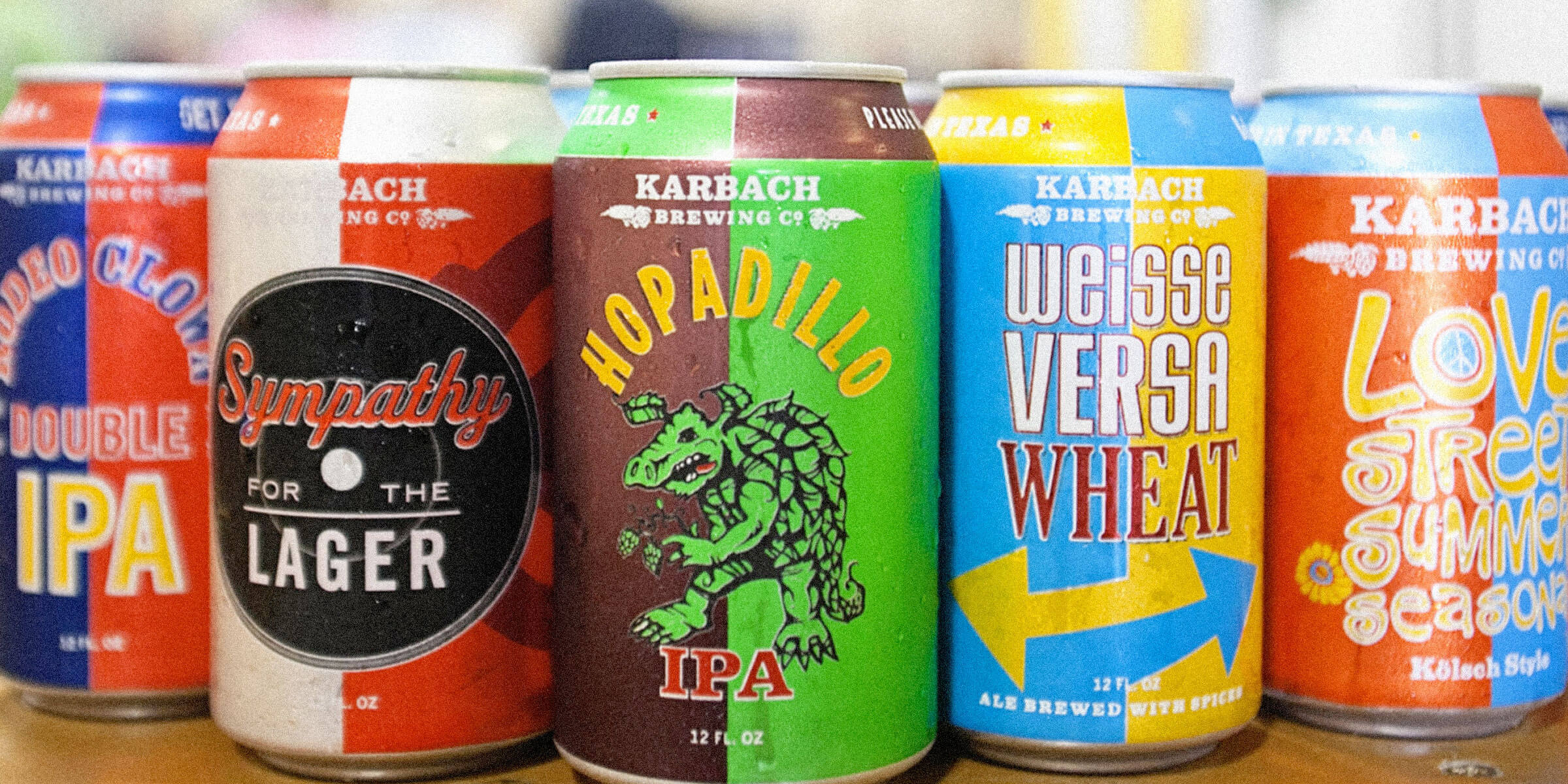 A lineup of canned beers from Karbach Brewing Co.