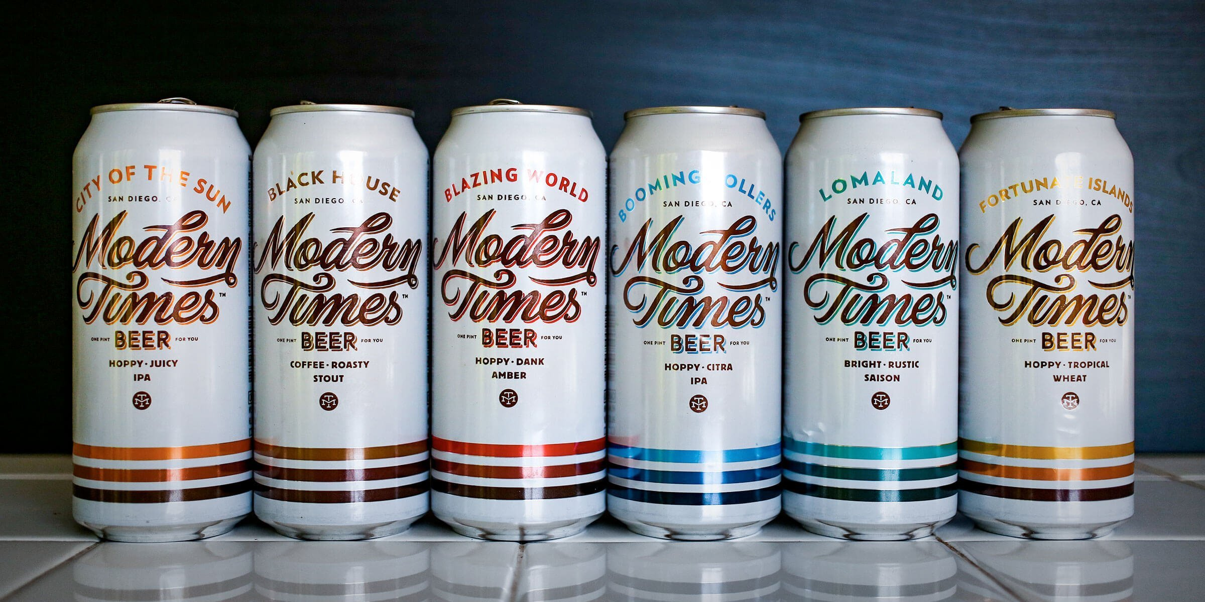 Lineup of 16 oz. cans of Modern Times Beer