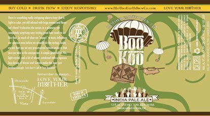 Label art for the Boo Koo IPA by Mother Earth Brew Co.