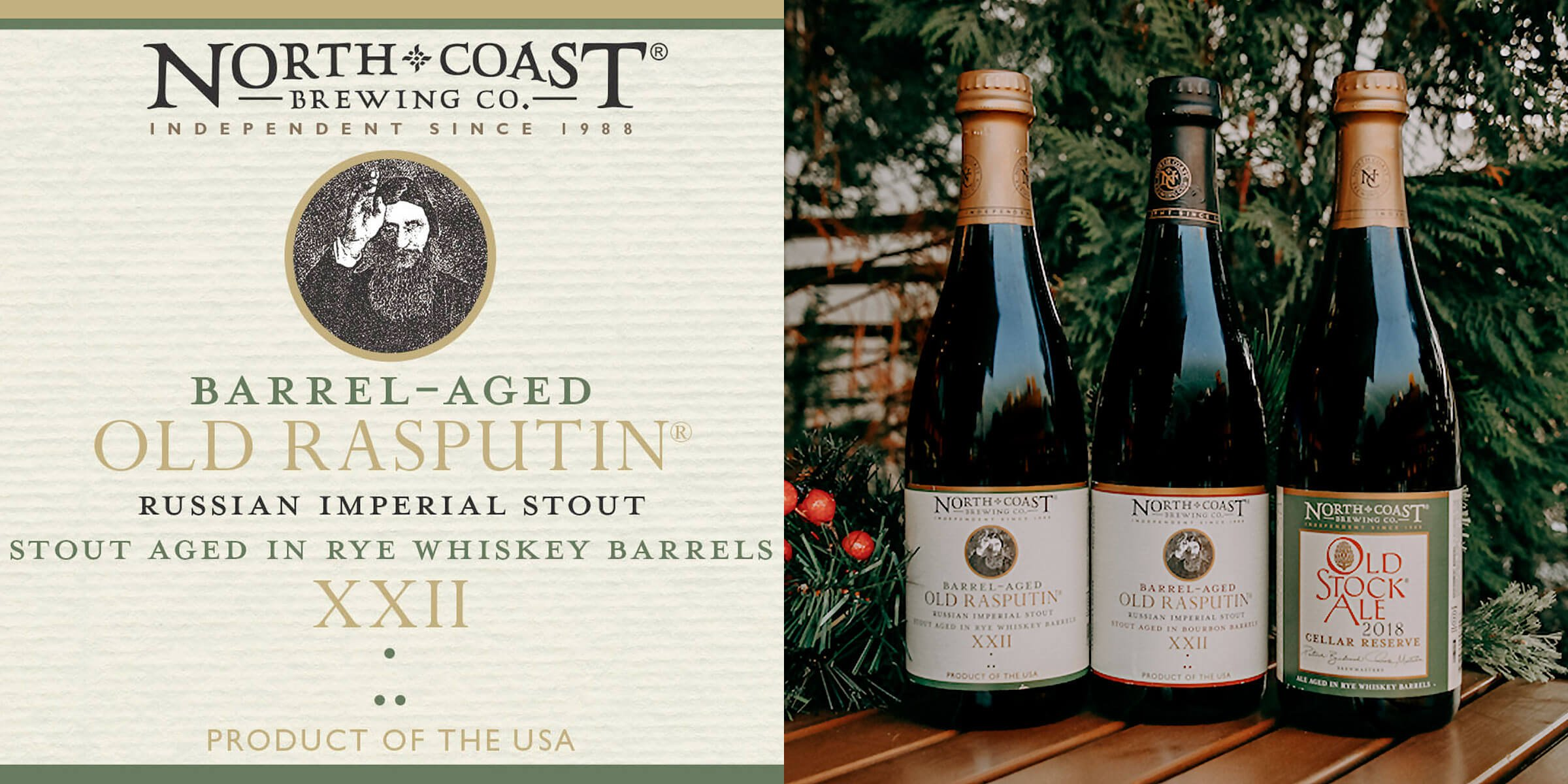 A trio of limited bottled offerings from North Coast Brewing Co. including two variants of Barrel-aged Old Rasputin XXII and the Old Stock Cellar Reserve 2018