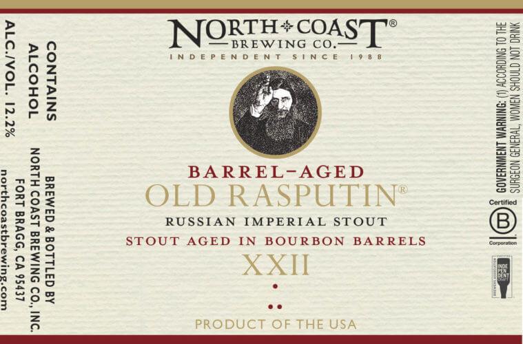Label design for 500 ml bottles of the Bourbon Barrel-aged Old Rasputin XXII