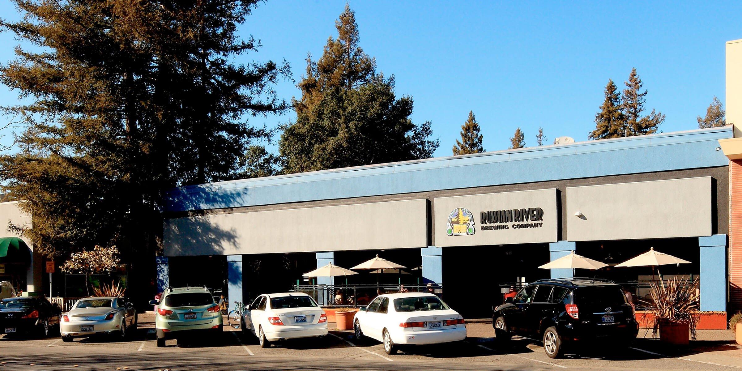 Outside the Russian River Brewing Company taproom in Santa Rosa, California