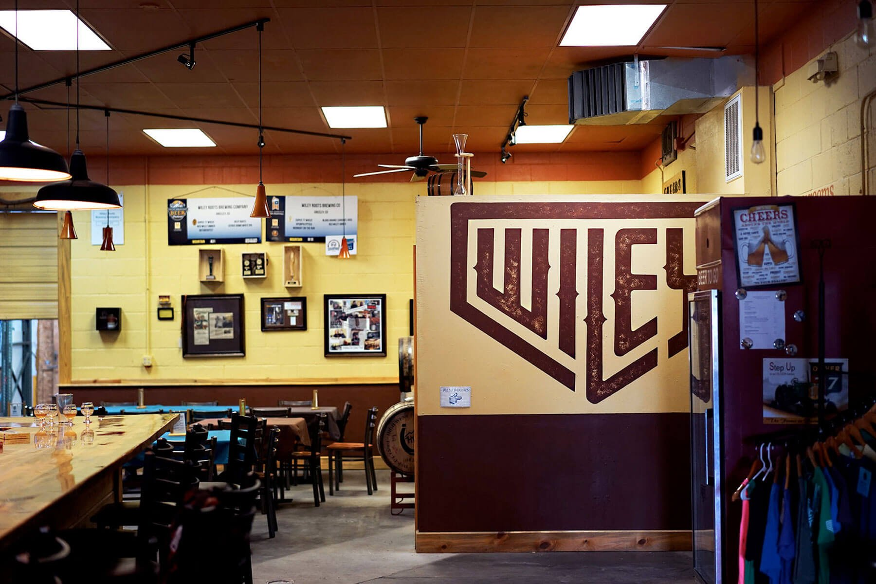 Inside the Wiley Roots Brewing Company taproom in Greeley, Colorado