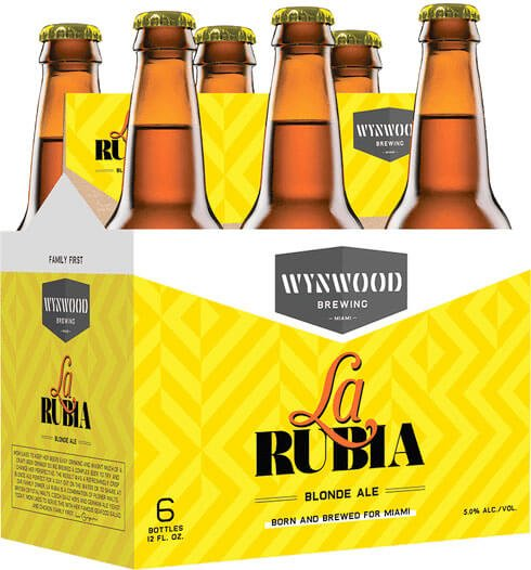 Packaging art for the La Rubia by Wynwood Brewing Company